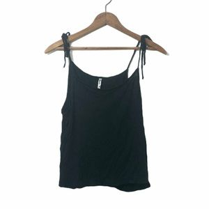 Black tie strap tank top